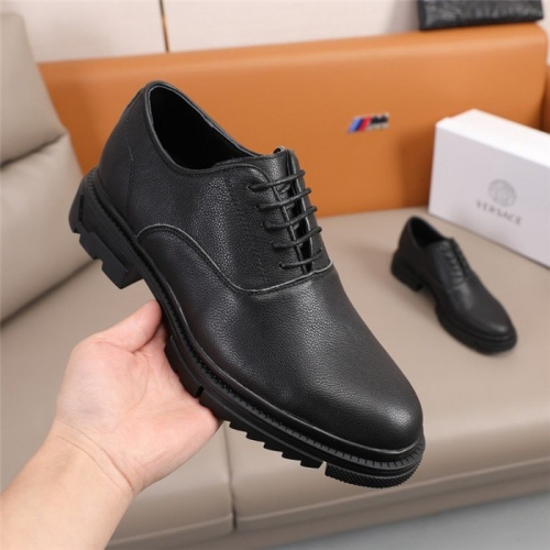 Replica Versace Leather Shoes For Men #847763 $92.00 USD for Wholesale