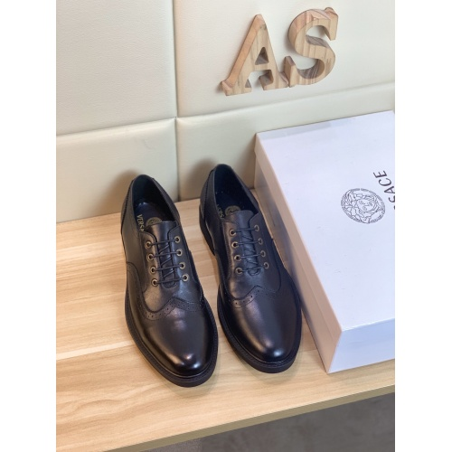Replica Versace Leather Shoes For Men #849694 $98.00 USD for Wholesale