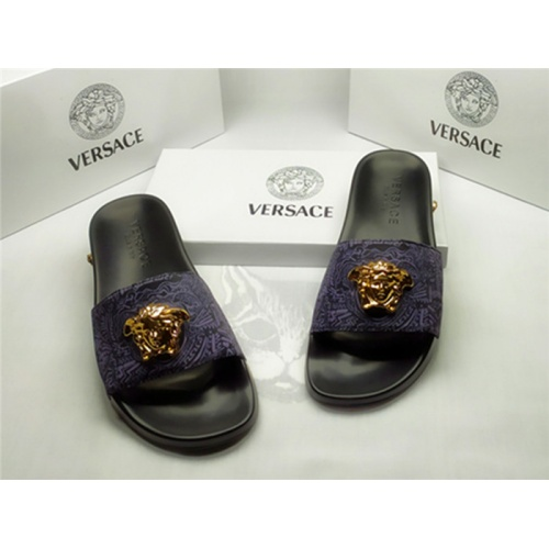 Replica Versace Slippers For Men #850110 $40.00 USD for Wholesale