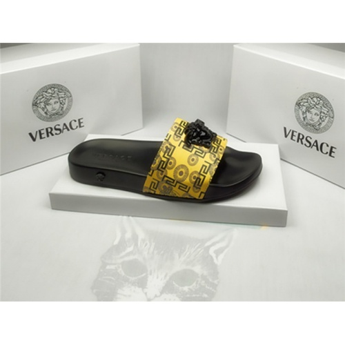 Replica Versace Slippers For Men #850117 $40.00 USD for Wholesale