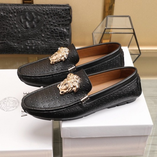 Replica Versace Leather Shoes For Men #850798 $85.00 USD for Wholesale
