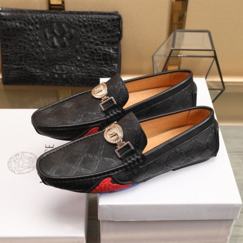 Replica Versace Leather Shoes For Men #850799 $85.00 USD for Wholesale