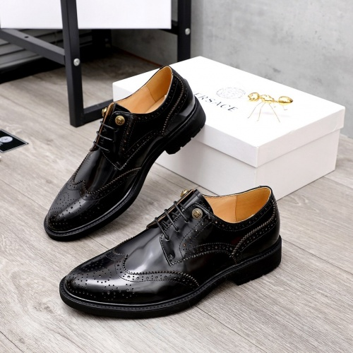 Versace Leather Shoes For Men #851868 $100.00 USD, Wholesale Replica Versace Leather Shoes