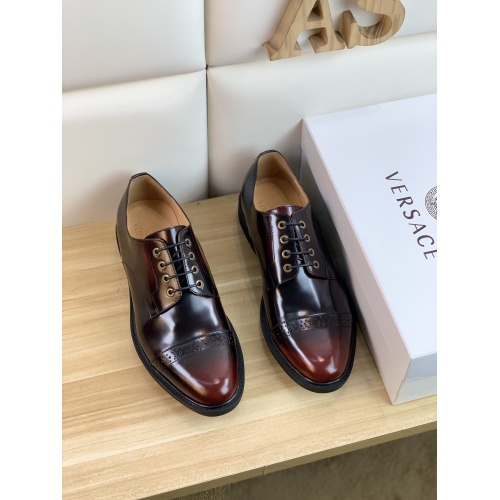 Replica Versace Leather Shoes For Men #859218 $108.00 USD for Wholesale