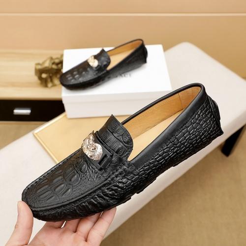 Versace Leather Shoes For Men #862454 $68.00 USD, Wholesale Replica Versace Leather Shoes