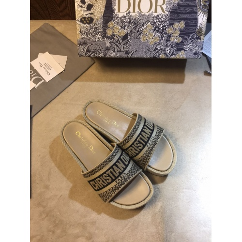 Replica Christian Dior Slippers For Women #868389 $64.00 USD for Wholesale