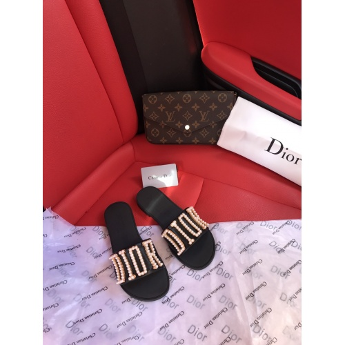 Replica Christian Dior Slippers For Women #868424 $56.00 USD for Wholesale