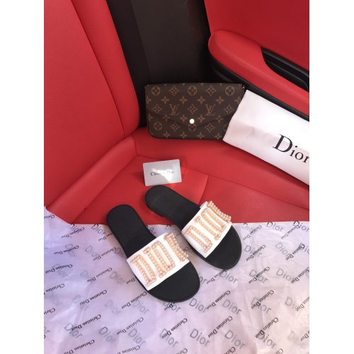 Replica Christian Dior Slippers For Women #868425 $56.00 USD for Wholesale