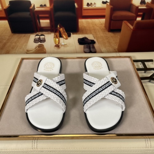 Replica Versace Slippers For Men #878632 $45.00 USD for Wholesale