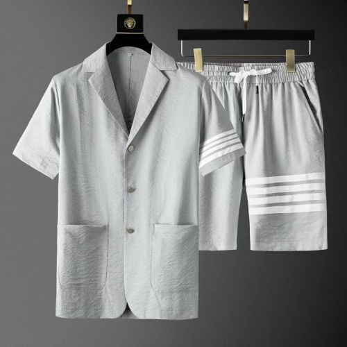 Thom Browne TB Tracksuits Short Sleeved For Men #879778 $76.00 USD, Wholesale Replica Thom Browne TB Tracksuits