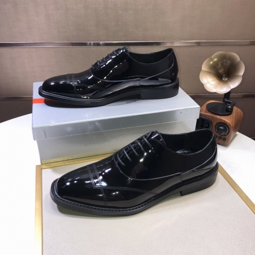 Replica Prada Leather Shoes For Men #879822 $85.00 USD for Wholesale