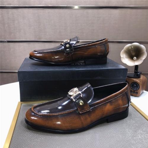 Versace Leather Shoes For Men #889434 $96.00 USD, Wholesale Replica Versace Leather Shoes