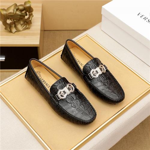 Versace Leather Shoes For Men #909708 $68.00 USD, Wholesale Replica Versace Leather Shoes