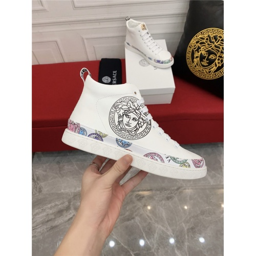 Replica Versace High Tops Shoes For Men #910138 $80.00 USD for Wholesale