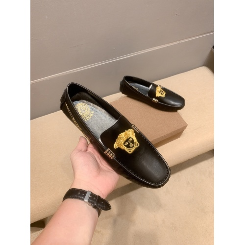 Replica Versace Leather Shoes For Men #914238 $68.00 USD for Wholesale