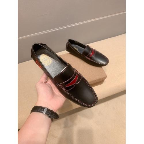 Versace Leather Shoes For Men #914240 $68.00 USD, Wholesale Replica Versace Leather Shoes
