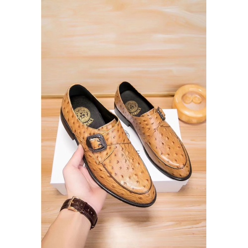 Replica Versace Leather Shoes For Men #914251 $80.00 USD for Wholesale